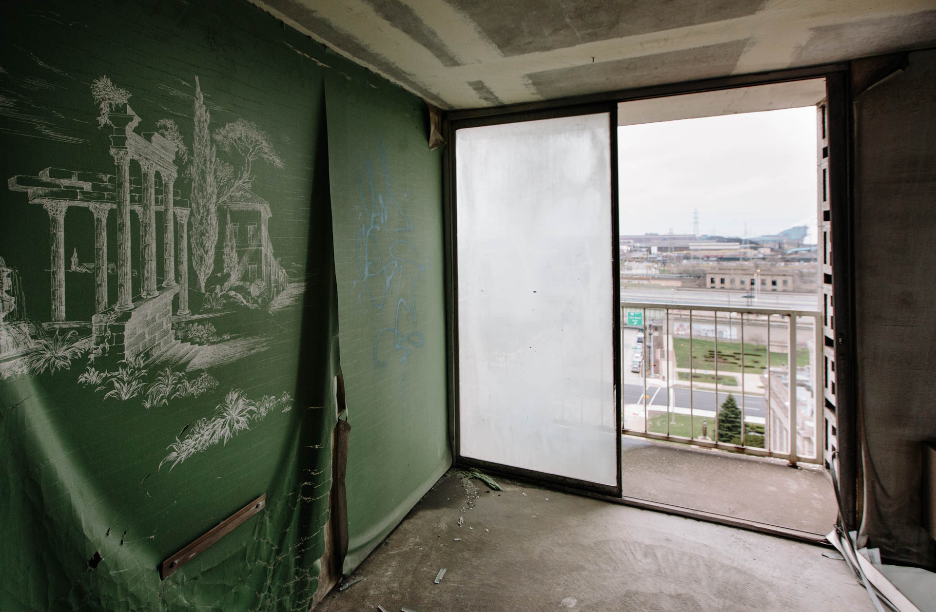 green-greek-wall-paper-abandoned-gary-hotel-room