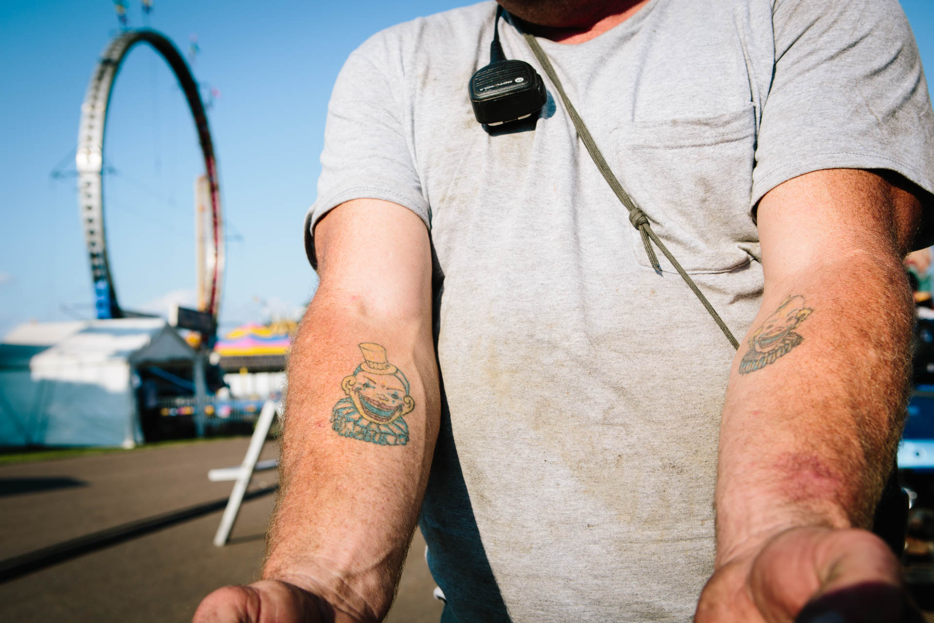 northern-wisconsin-carnival-worker-forearm-clown-tattoos-chippewa-falls-wi-7118